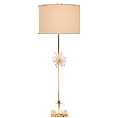 John Richard Crystal and Brass Sunburst Buffet Table Lamp