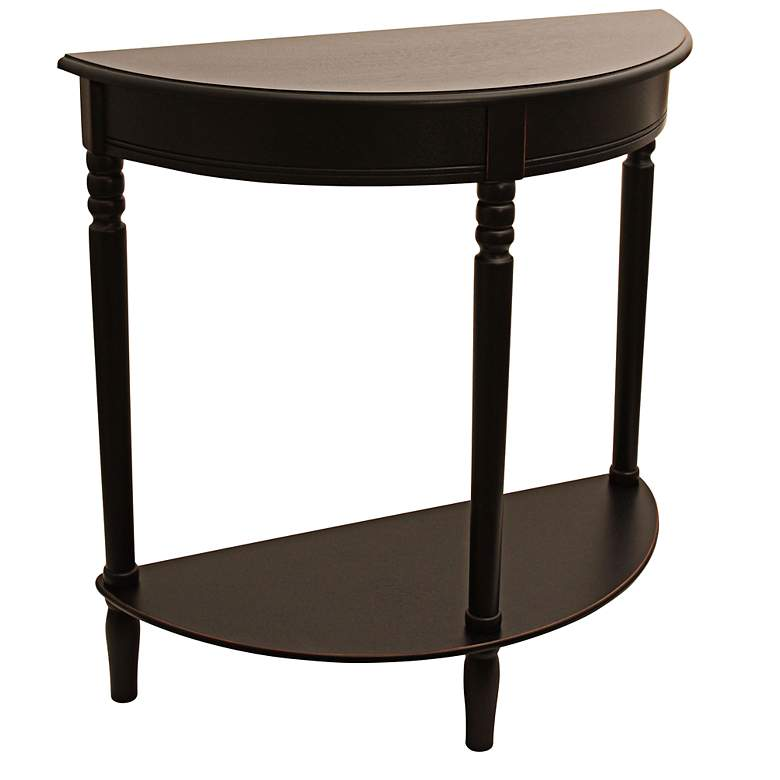 """Terese 28 1/4"""" Wide Black Finish Half Round Console Table"""