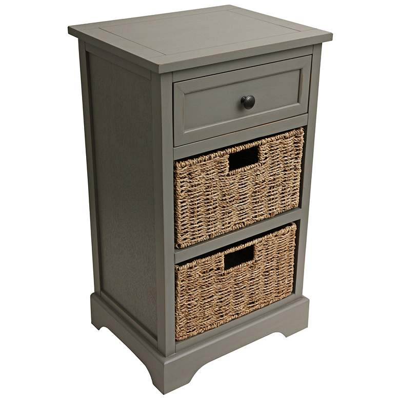 """Ella 16"""" Wide Antique Gray Drawer Accent Table with Baskets"""