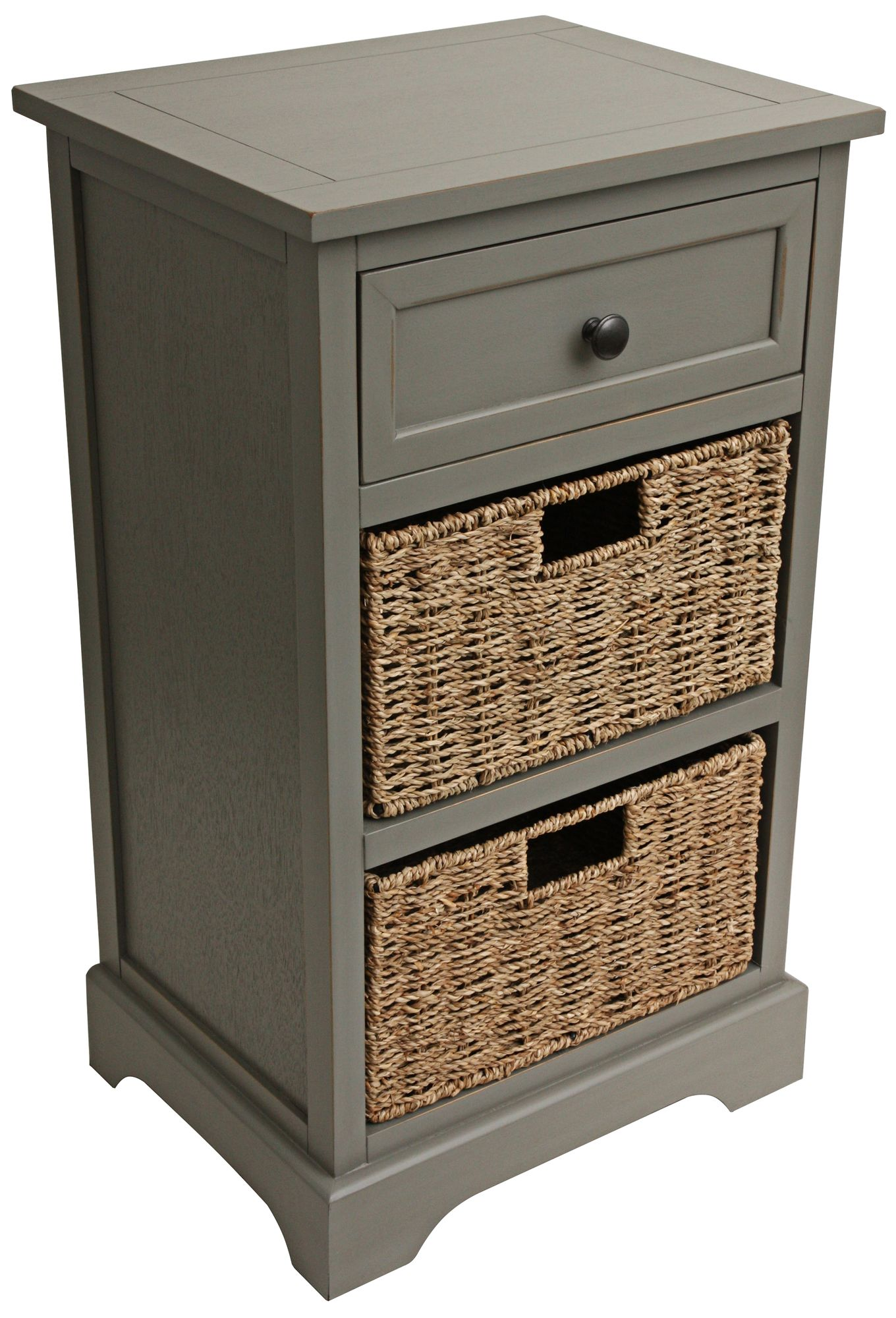 Ella Antique Gray 1 Drawer Accent Table With Baskets