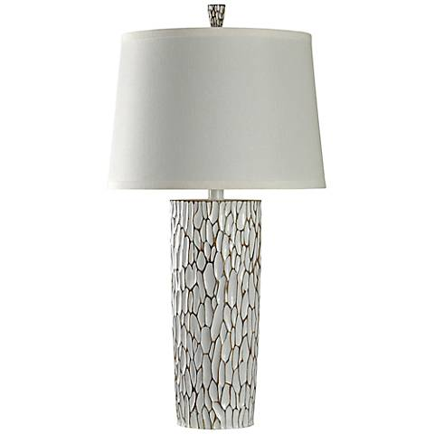 Maunie Braselton White and Gold Pebble Column Table Lamp
