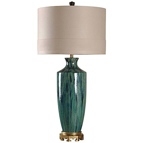 Manoca Reactive Glaze Blue and Green Ceramic Table Lamp