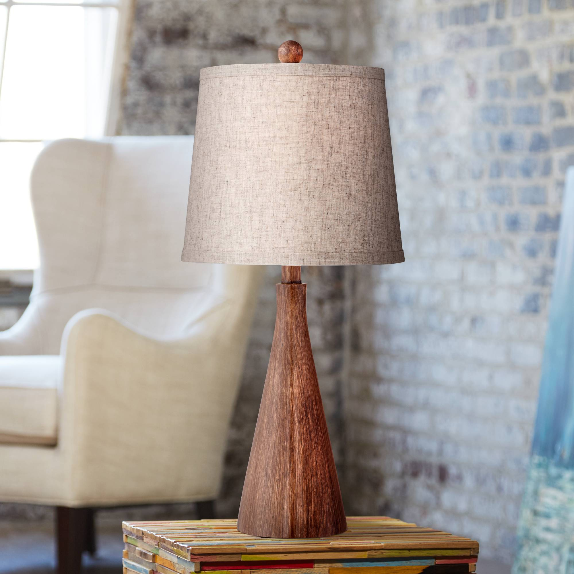Mid Century Modern Table Lamp Wood Cone Oatmeal For Living Room