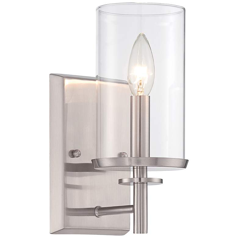 "Harlowe 10"" High Satin Platinum Wall Sconce"