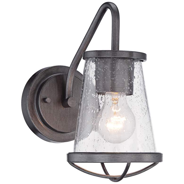 "Darby 10 1/4"" High Weathered Iron Wall Sconce"