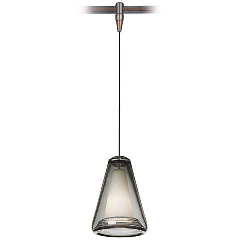 "Billow 5"" Wide Smoke Glass Bronze Monorail Mini Pendant"