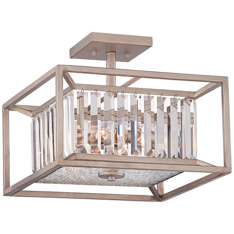 "Linares 14"" Wide Aged Platinum Ceiling Light"