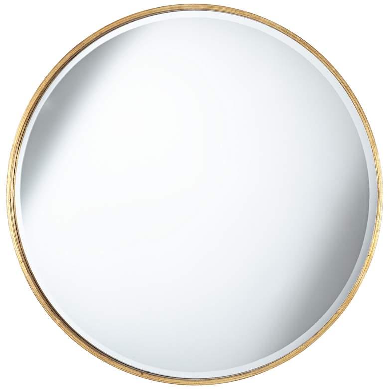 """Uttermost Mayfair Antique Gold 34"""" Round Wall Mirror"""