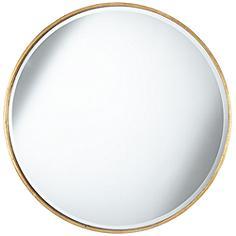 "Mayfair Antique Gold 34"" Round Wall Mirror"