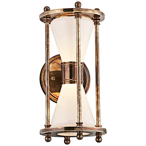 "Magellan 13"" High Brass Hourglass LED Outdoor Wall Light"