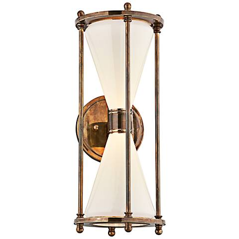 "Magellan 19"" High Brass Hourglass LED Outdoor Wall Light"