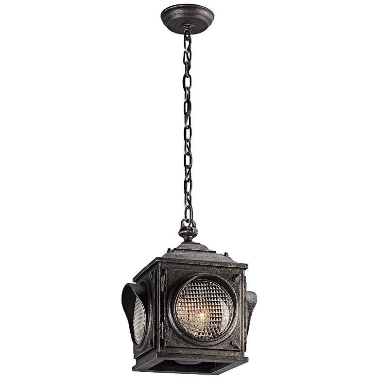 "Main Street 13 1/4""H Vintage Pewter Outdoor Hanging Light"
