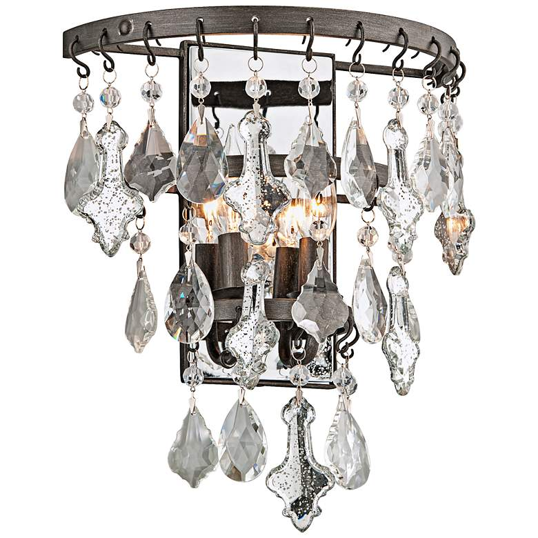 "Meritage 14 3/4"" High 2-Light Mercury Crystal Wall"