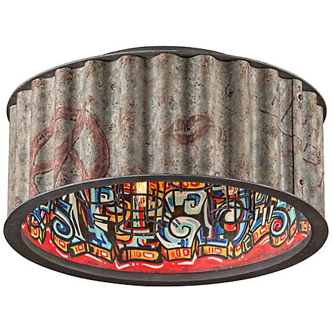 "Street Art 18""W Graffiti Galvanized 4-Light Ceiling Light"