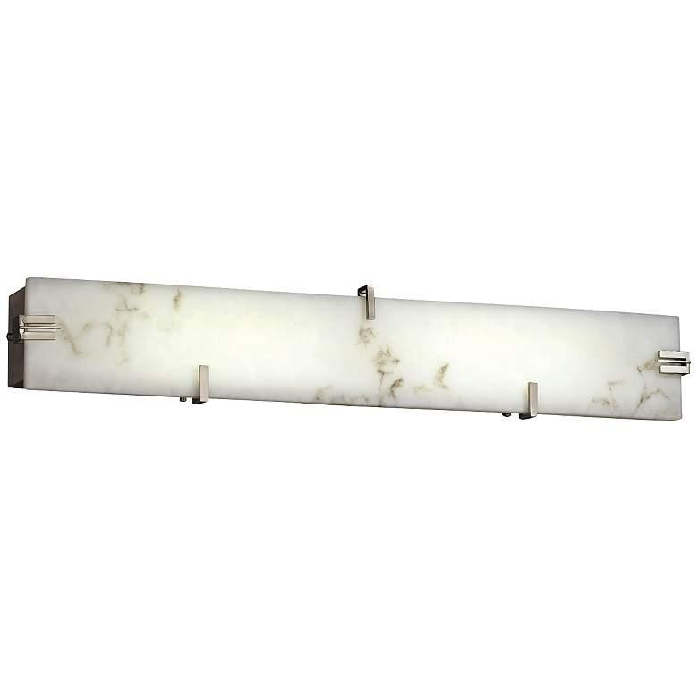 """LumenAria 28 1/4""""W LED Faux Alabaster Nickel Bath Light"""