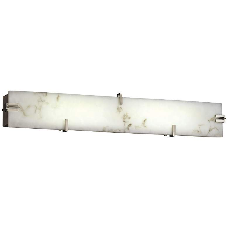 "LumenAria 36"" Wide LED Faux Alabaster Nickel Bath Light"