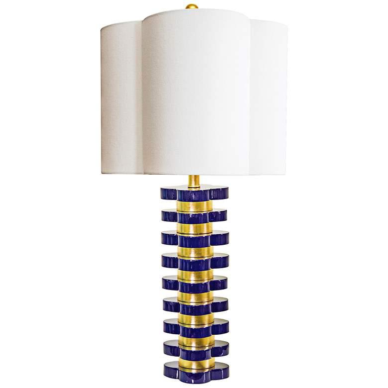 Couture Indigo Blue and Gold Leaf Quatrefoil Table Lamp