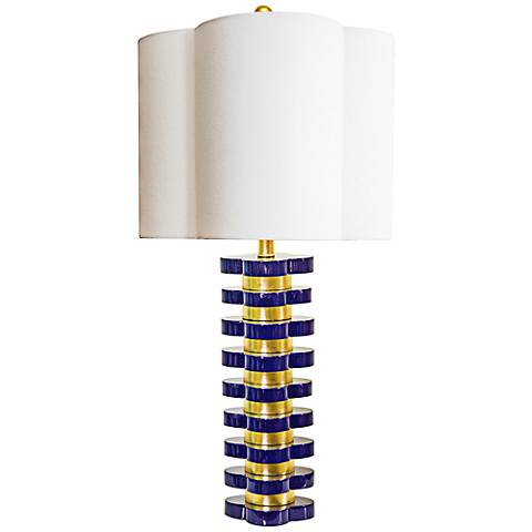 Couture Indigo Blue and Gold Leaf Quatrefoil Table Lamp