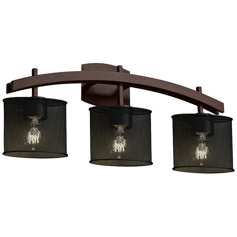 """Archway Mesh 25 1/2"""" Wide 3-Light Dark Bronze Bath Light"""
