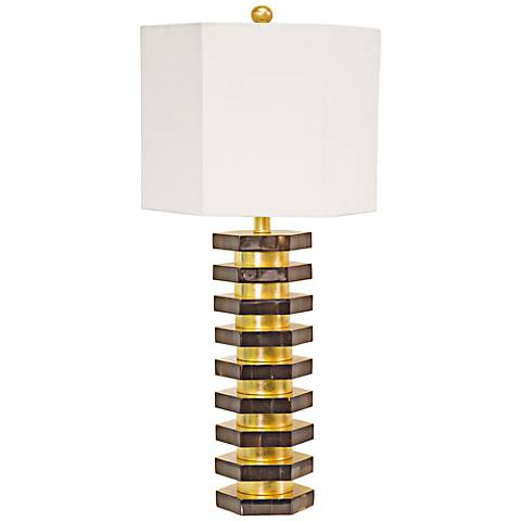 Couture Presidio Hexagon Natural Buffalo Horn Table Lamp