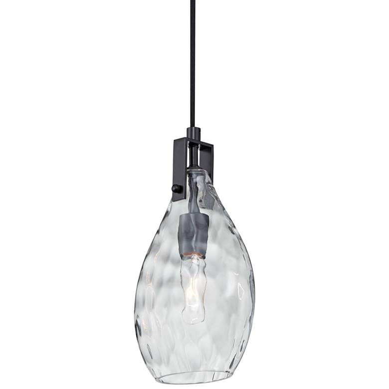 """Uttermost Campester 9"""" Wide Black and Clear Mini Pendant"""