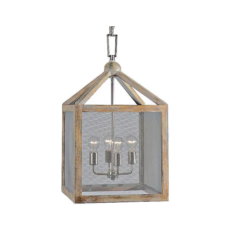 "Uttermost Nashua 16"" Wide Wooden 4-Light Pendant"