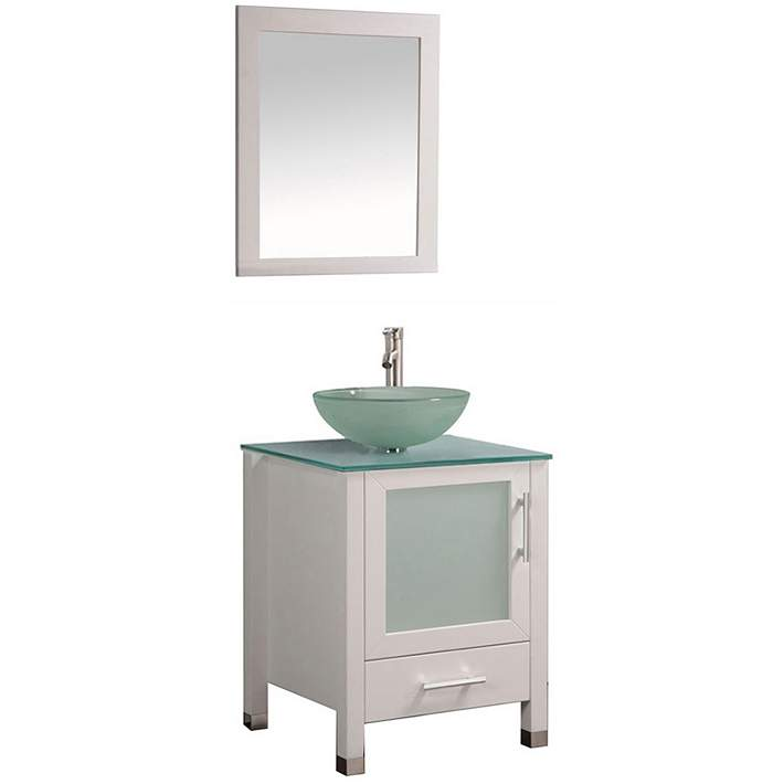 Cuba 24 White Single Sink Bathroom Vanity And Mirror Set 8r631 Lamps Plus