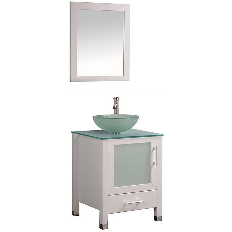 "Cuba 24"" White Single-Sink Bathroom Vanity and Mirror Set"