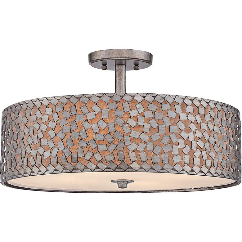 "Quoizel Confetti 20"" Wide Old Silver Ceiling Light"