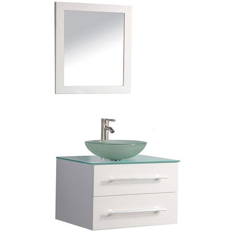 """Cuba 36"""" White Wall-Mount 1-Sink Vanity and Mirror Set"""