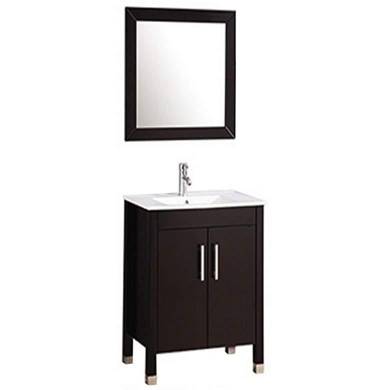 """Monaco 24"""" Espresso 2-Door Bathroom Vanity and Mirror Set"""