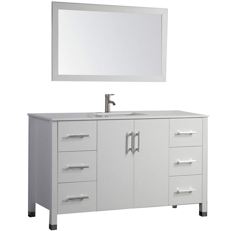 "Monaco 48"" White 6-Drawer Bathroom Vanity and Mirror Set"