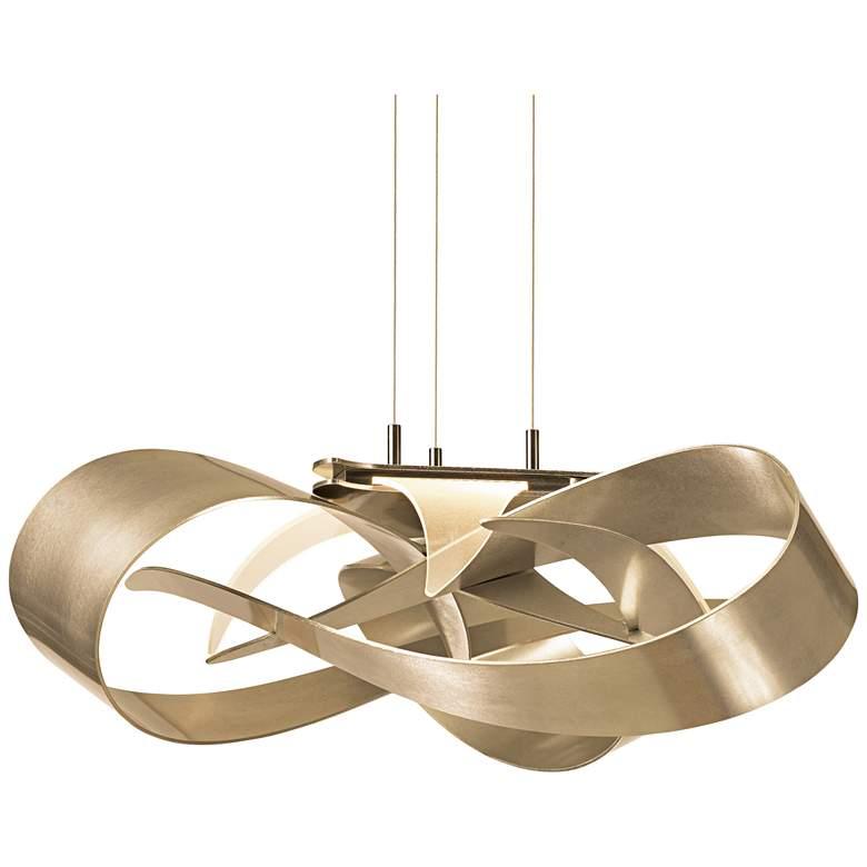 """Hubbardton Forge Flux 26 1/2""""W Gold Ribbon LED Pendant"""