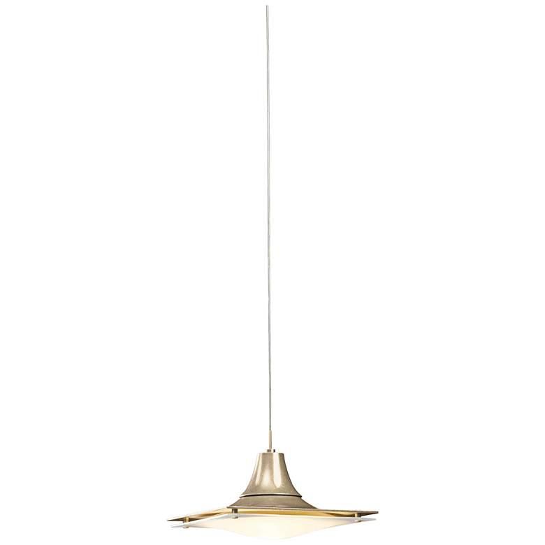 "Hubbardton Forge Hood Opal Glass 10""W Gold Mini Pendant"