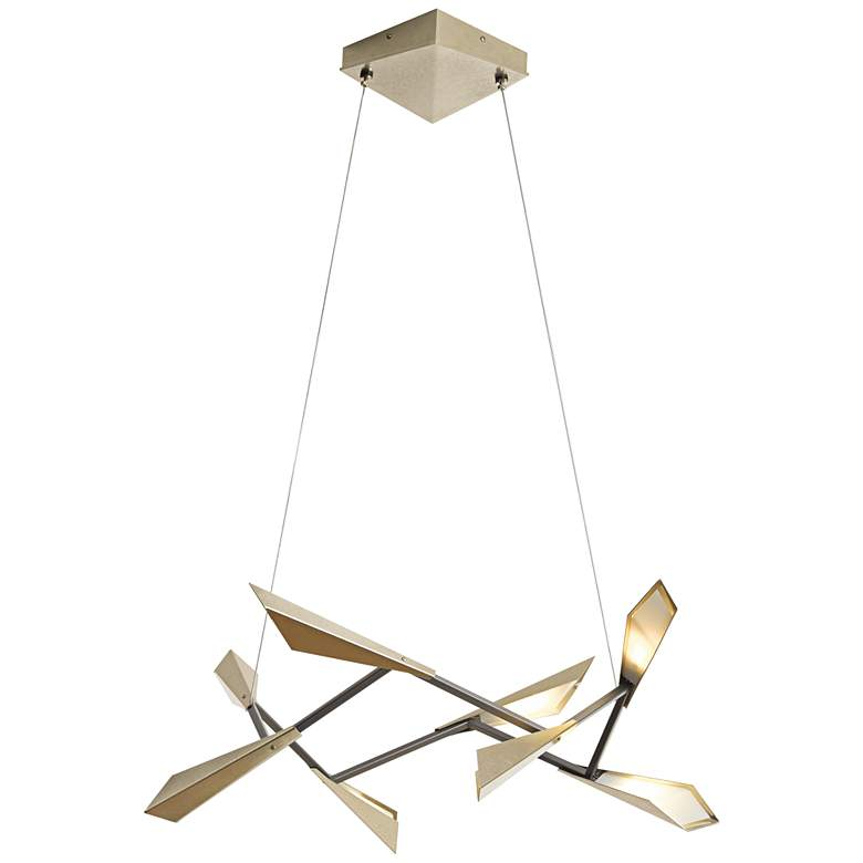 """Hubbardton Forge Quill 34""""W Soft Gold Square LED Pendant"""