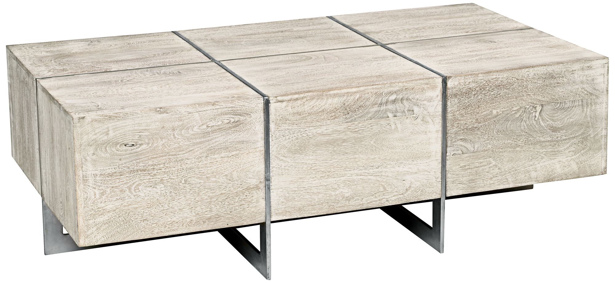 Desmond Whitewash Wood Matte Nickel Coffee Table