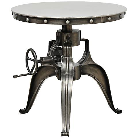 Afton Industrial Nickel Crank-Adjustable Round End Table