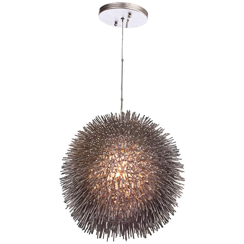 "Varaluz Urchin 13"" Wide Painted Chrome Pendant Light"