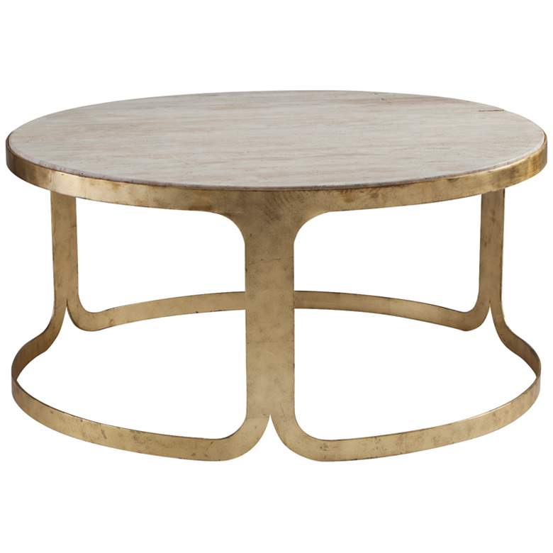 Dwell Studio Bennett Travertine Antique Gold Coffee Table