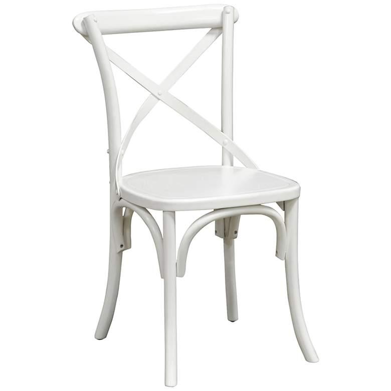 Amara Iron Cross-Back Retro Pine Wood White Side Chair