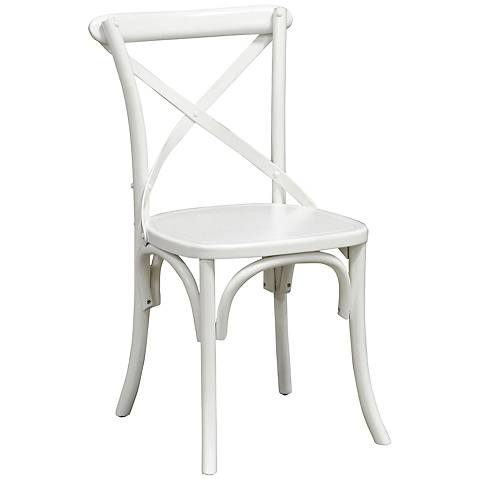 Amara Iron Cross-Back Retro Pine Wood White Side Chair