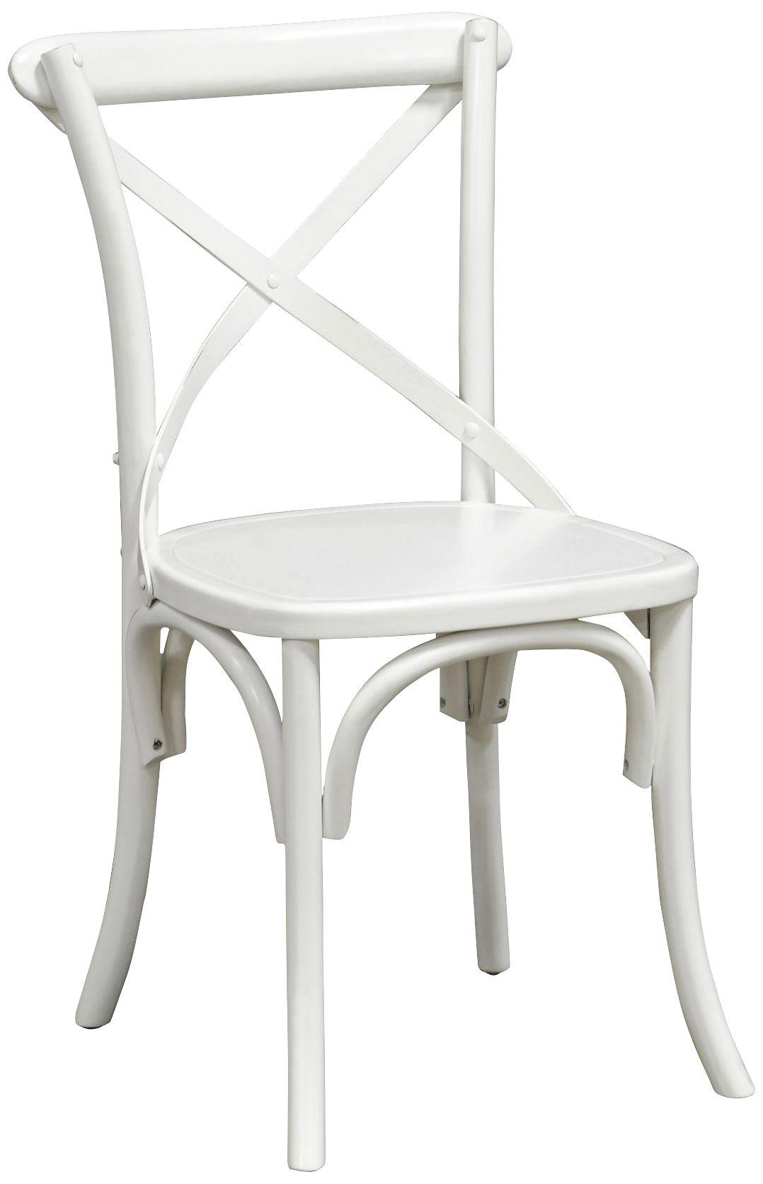 Amara Iron Cross Back Retro Pine Wood White Side Chair