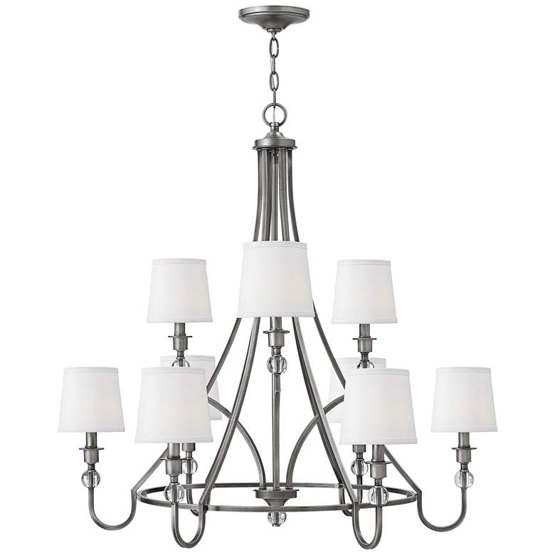 "Hinkley Morgan 35"" Wide 9-Light Antique Nickel Chandelier"