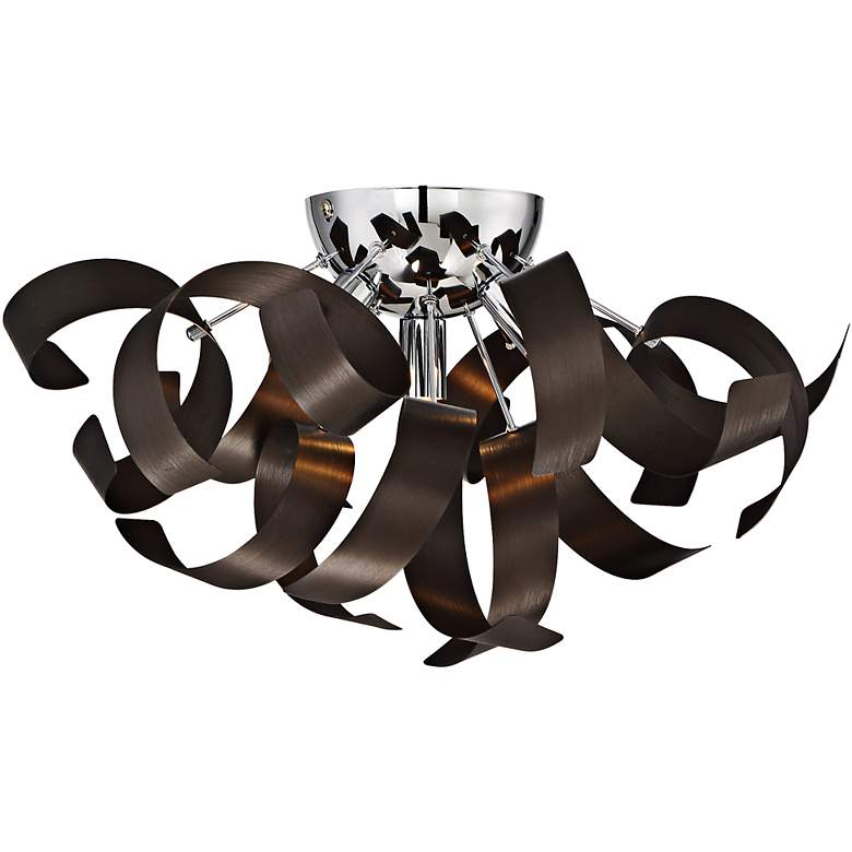 """Quoizel Ribbons 16 1/2"""" Wide Western Bronze Ceiling Light"""