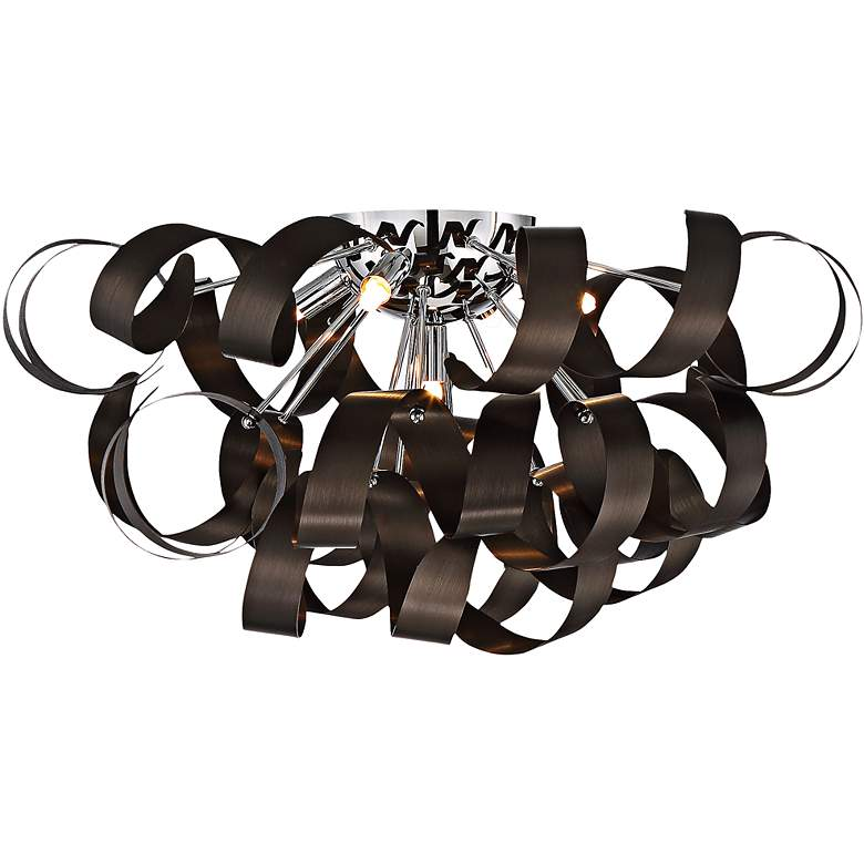 """Quoizel Ribbons 22"""" Wide Western Bronze Ceiling Light"""