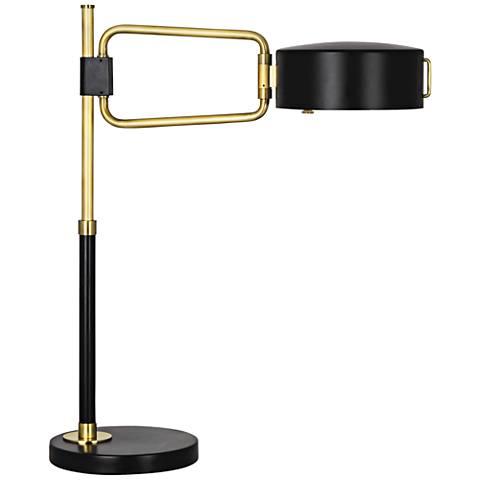 Robert Abbey Simon Satin Black Antique Brass Table Lamp