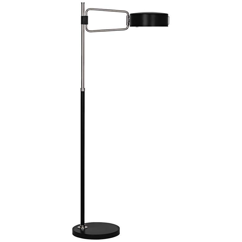 Robert Abbey Simon Satin Black Polished Nickel Floor Lamp