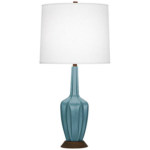Robert Abbey Cecilia Small Steel Blue Ceramic Table Lamp