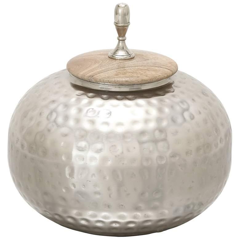 "Castiel 12"" High Aluminum and Wood Large Decorative Jar"