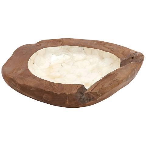 Country Teak Capiz Large Decorative Bowl